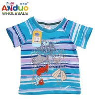 On Sale Ajiduo Fashion Casual Cotton Stripe Children T Shirt Print Cartoon,Baby Kids Boys Clothes Short Sleeve Shirt Wholesale