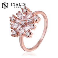 3A quality Prong CZ Snowflake Ring wholesale fine jewelry in 18K rose gold jewelry Korea AliExpress