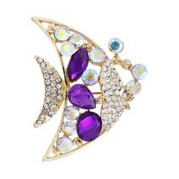 Free Shipping Fashion New Gold Purple Rhinestone Wedding Brooches For Women Men Crystal Tropial Brooch pins