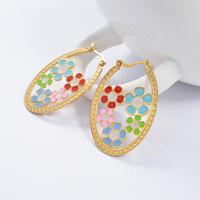 2014 Fashion Women's Titanium Steel Gold  Multicolour Flower  Drop Earrings