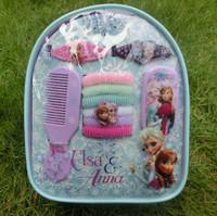 418  Frozen Princess Anna Elsa Flower  Hair Accessories sets comb / hair clip / rope /  mirror  bag for girls birthday gift