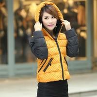 Plus Size L-3XL Women's Slim Thick Short Polka Dot Winter Snow Warm Down Cotton Coat  Parkas For Women,6 Colors,C8657