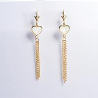 2014 Fashion Women's Titanium Steel Gold Heart Tassel  Drop Earrings Cute Long Earrings