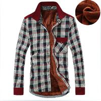 2014 New Free Shipping Plaid Casual Cotton Shirts Warm Men's Shirt Plus Thick Velvet Soft, Shirts For Men