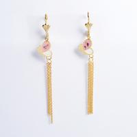 2014 Fashion Women's Titanium Steel GoldColorful Butterfly Tassel  Drop Earrings Cute Long Earrings