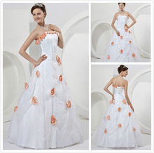 2014 New Strapless Handmade Flowers Bridal Gowns Presented a crystal necklace White In the fall waist New Arrival WeddingDresses(China (Mainland))