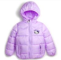 2014 new Hello Kitty Girl's Winter jackets hooded children's Coats winter warm Outerwear & Coats.  Children cartoon outerwear