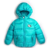 2014 new Hello Kitty Girl's Winter jackets hooded children's Coats winter warm Outerwear & Coats. Cartoon rabbit wool sets.
