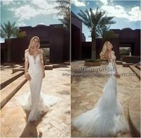 New Arrival Sexy Tal Kahlon 2014 Wedding Dresses Deep V Neck Mermaid Wedding Dress Open Back Cap Sleeve Tulle Long Bridal Gowns