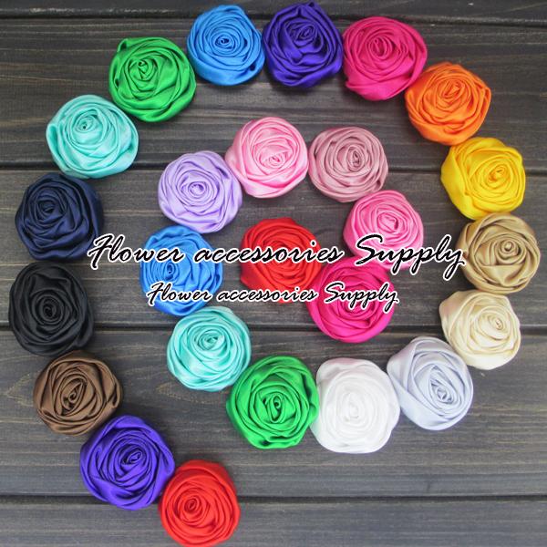 """120pcs/lot 2""""Polyester Rolled Rosette Flower Satin Silk Ribbon Flower Fabric Rosettes Flower For Girls Headband.(China (Mainland))"""