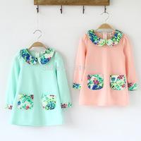 New 2014 Children Clothing Flower Collar Girls Dresses Long Sleeve Autumn Dress Kids Fall Clothes Fashion Girls Tops