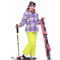 2014 New Children's Winter Clothing Set Windproof Zipper contrast color Plaid warm hooded Fur Jacket+Bib Pants girls Skiing Suit
