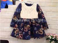 2014 fashion New Girls winter flower fleece yellow/blue thicken dress kids girl party floral patchwork dress for children