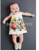 Super Quality! New European&American fashion brand autumn spring girls flower print dress for 2~7 years old girls wear