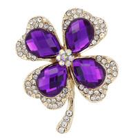 Free Shipping Fashion New Gold Blue/Purple Rhinestone Wedding Brooches For Women Men Clover Crystal Brooch pins