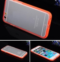 Bright Color Silicone Tranparent Protectivce Case Cover for iPhone 6 Good quality SilmProtective coer 4 apple 6  4 colors