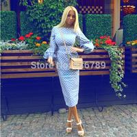 Free Shipping Hot Sale New Fashion Women Celeb Dress Casual Party Prom Polka Dot Print Long Sleeve Midi Bodycon Dress Vestidos
