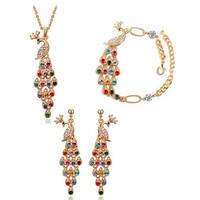 2014 New Arrival Fashion   Austrian Crystal Zircon Necklace/Drop Earrings/Bracelet Jewelry Set ,TZ-1019