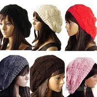 2014 New Fashion Women's Lady Beret Braided Baggy Beanie Crochet Warm Winter Hat Ski Cap Wool Knitted NV169