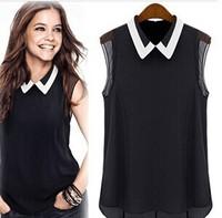 2014 Fashion Women Polo Neck Casual Blouse Camisa Roupeas Sheer Tops Blusa Atacado Cheap Clothes Shirts