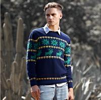 2014 New Fashion Men's O-Neck Sweater 100% Cotton Snowflake Sweater Outwear Stripe Knitted Men Pullovers Deer Sweater M-XXL