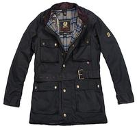 Wholesale ! Italy Top Jacket Men waxed Waterproof Motorcycle jackets Male road master Long Design Belt Black Jacket Coat