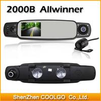 2000B HD 720P 3.0'TFT LCD Night Vision Car DVR Camera Three Lens 360 Degree Wide Angle Car Rearview Mirror Recorder