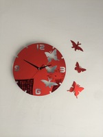 Fashion red butterfly acrylic art wall clock living room wall stickers wedding stereo