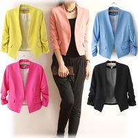 Womens short Suits Blazer three quarter sleeve pockets candy bright color elegant slim outwear W4384