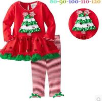 Winter  Girls Red Ruffled tutu dress sets christmas long sleeve dress + stripe leggings /pants Girl's suits children clothing