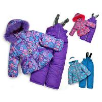 2014 New Children's Winter Clothing Set baby girl Ski Suit Windproof Print Warm Coats Fur Jackets+Bib Pants+Wool Vest 3 Colors