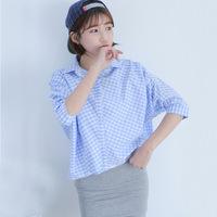 New 2014 casual Women Chiffon Blouses Women Blue Square Lapel Casual sweet Long Sleeved Shirts Tops women's clothing