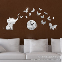 2014 new three-dimensional mirror wall clock watch fashion personality butterfly wall decoration wall elephant bell kx032