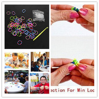 Free Shipping Good Quality Hotest for Kid's Craft 1200pcs Multicolor Rubber Bands 24 S-Clips Hook Refill Loom Kit  EJ671602