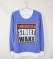 fashion 2014  sweatshirts long sleeve vision street red blue balck brand crewneck racksuit sportswear punk hip hop street wear