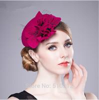 Promotion ! Spain Order ! noble elegant 100% wool vintage fashion floral mini top hats  fascinator  for women
