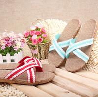 2014  Korean men and women indoor slippers summer lovers summer linen sandals and slippers non-slip floor deodorant sweat