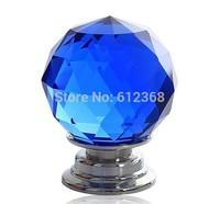4PCS/LOT 30mm Blue Zinc Alloy Crystal Round Ball Glass Diamond Cabinet Knobs Handles Drawer Cupboard Door Pulls Ceramic Handles