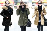 Hot sale women's zipper jacket waist Slim army green  cotton coat without fur collar free shipping