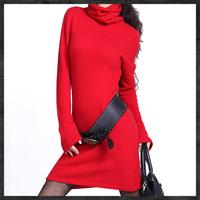 Free Shipping 2014 Women Fall winter Slim Sexy Cashmere Sweater Dress,Long Korean Knitted Dress new year