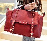 Free shipping vintage women handbag black red PU rivetes women messenger bags famous brands shoulder bags