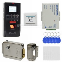 DIY Full Complete LCD Fingerprint And Id Card Reader Password Keypad Door Access Control System + Electric Lock