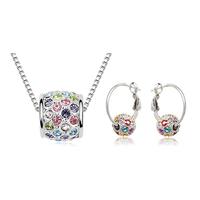 2014 New Arrival Fashion Austrian Crystal Zircon Necklace/Drop Earrings Jewelry Set ,TZ-1177
