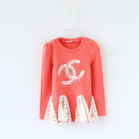 New 2014 Children Clothing Girls' T-shirts CC Long Sleeve Bling Bling Girl's Tees Kids Fall Clothes Child Autumn Tops Wear