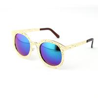 2014 Sunglasses Women Brand Designer Baroque Gold Pierced Sun Glass Ladies Luxury Vintage Round Lentes Lunette De Soleil Femme