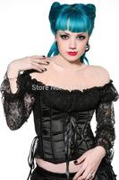 Hot Plus Size  BLACK  Sleepwear Sexy Women Lace Tops Steel Bustier Lingerie Overbust Corset Dresses (S,M,L,XL,)2238