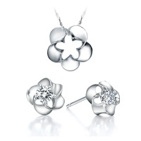 Free Shipping Best Quality Platinum Plated Jewelry Set,Fashion Crystal Necklace & Earrings,Fashion Jewelry,DGYT013