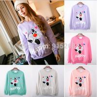 2014 New Women's Sweatshirts Hoodies  High quality Cartoon characters printing Fleeces Round collar women hoodies 5 color