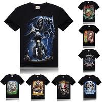 2014 Personality t-shirt men rock style t shirt 3d printed Skeleton men tshirt O-Neck Hallowmas cool mens tee shirts