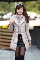 Winter jacket women Coat Down jacket Plus size Duck down Sexy 3XL Fashion Long  2014 new Apricot Black Female dtyrf026